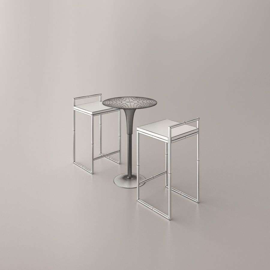 Bar stoel en tafel royalty-free 3d model - Preview no. 12