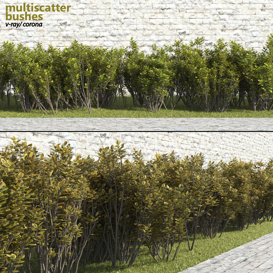 Multiscatter Bushes royalty-free 3d model - Preview no. 1
