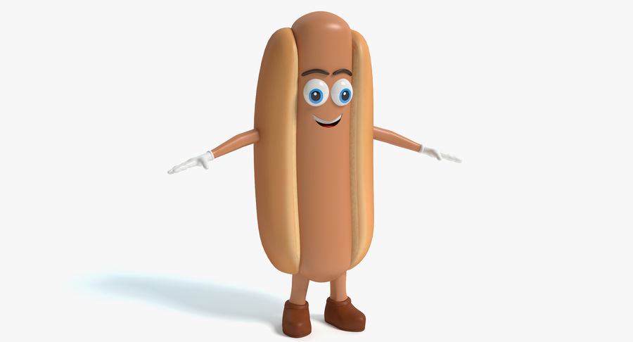 Hot Dog Character royalty-free 3d model - Preview no. 2