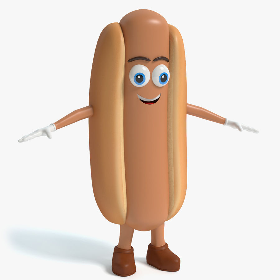Hot Dog Character royalty-free 3d model - Preview no. 1