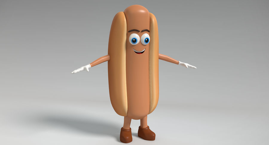 Hot Dog Character royalty-free 3d model - Preview no. 3