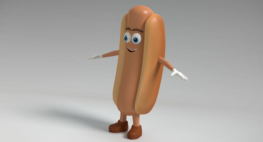 Hot Dog Character royalty-free 3d model - Preview no. 6