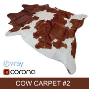 Dark-Brown Cowhide animal skin rug ready for photorealistic interior vizualisation 3d model