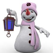 cartoon snowman 3d model