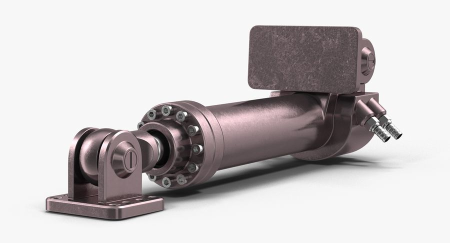 Anodowany cylinder hydrauliczny royalty-free 3d model - Preview no. 10