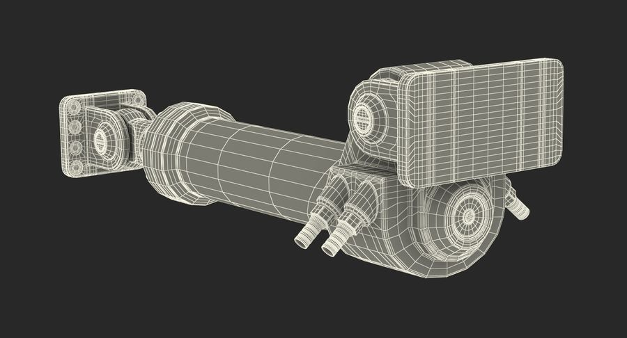 Anodowany cylinder hydrauliczny royalty-free 3d model - Preview no. 21