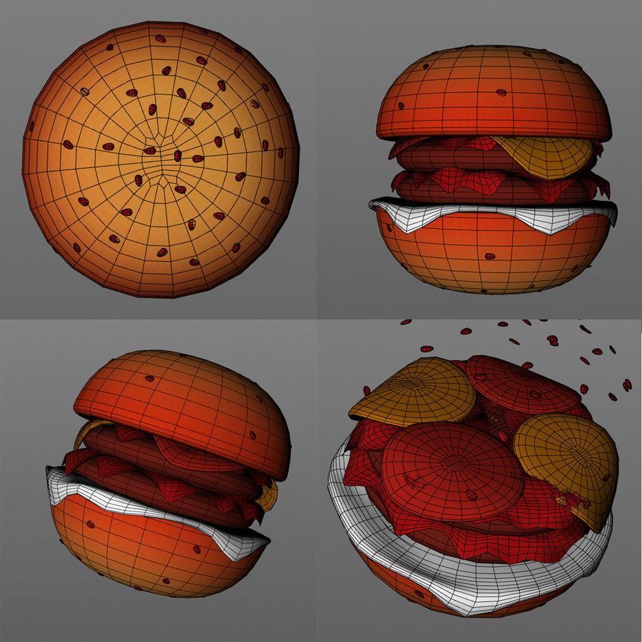 Cartoon Hamburger royalty-free 3d model - Preview no. 2