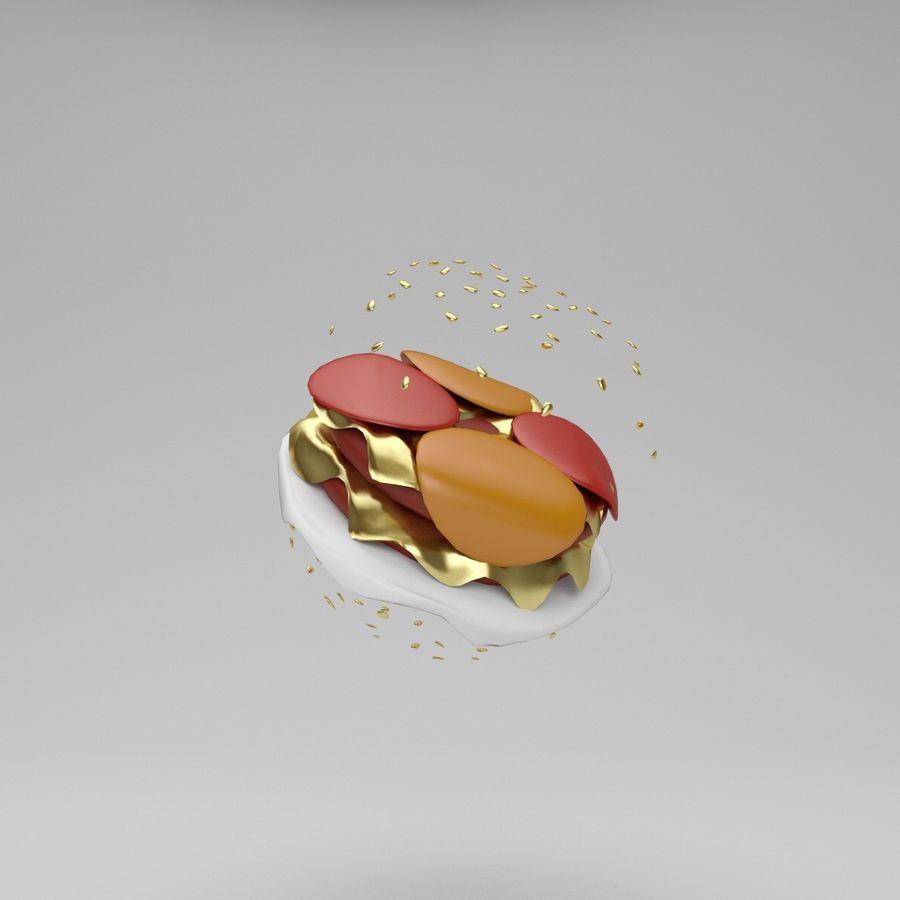 Cartoon Hamburger royalty-free 3d model - Preview no. 5