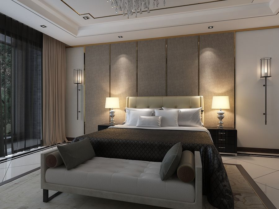 Bedroom 3 royalty-free 3d model - Preview no. 3