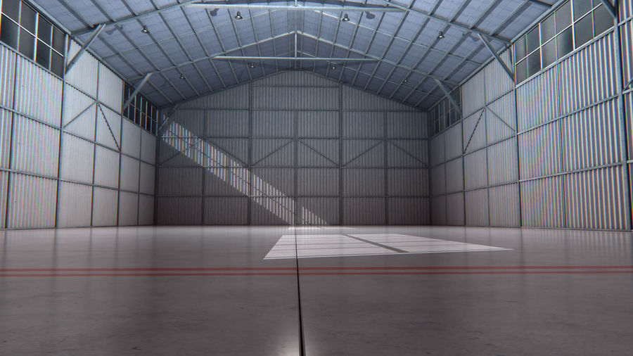 Aircraft Hangar Interior royalty-free 3d model - Preview no. 2