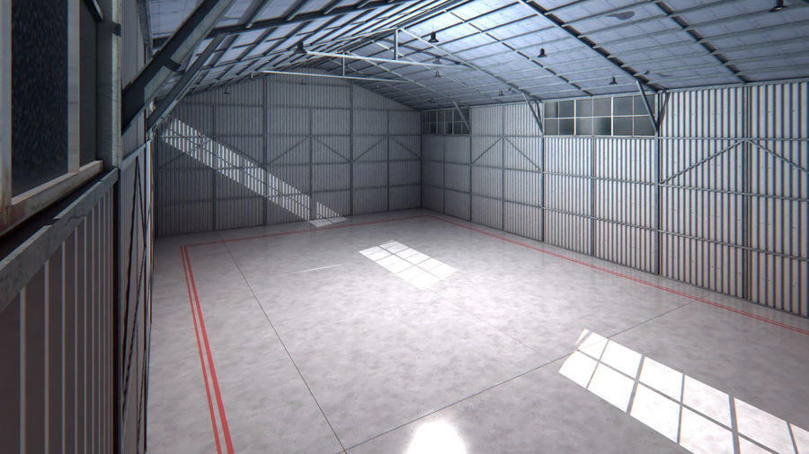 Aircraft Hangar Interior royalty-free 3d model - Preview no. 5