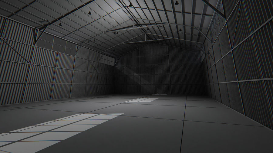 Aircraft Hangar Interior royalty-free 3d model - Preview no. 6