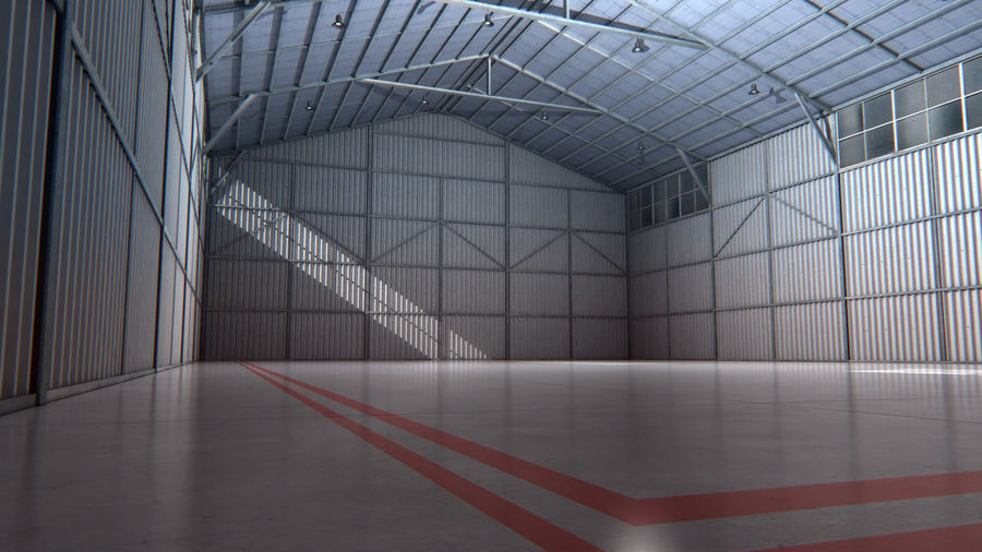 Aircraft Hangar Interior royalty-free 3d model - Preview no. 1