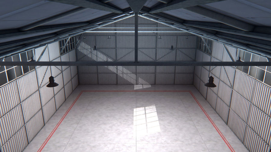 Aircraft Hangar Interior royalty-free 3d model - Preview no. 4