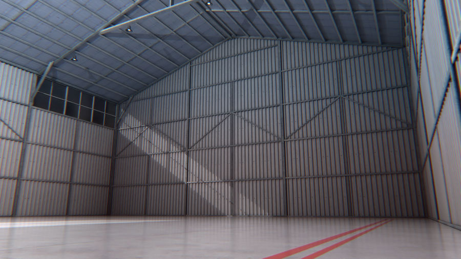 Aircraft Hangar Interior royalty-free 3d model - Preview no. 3
