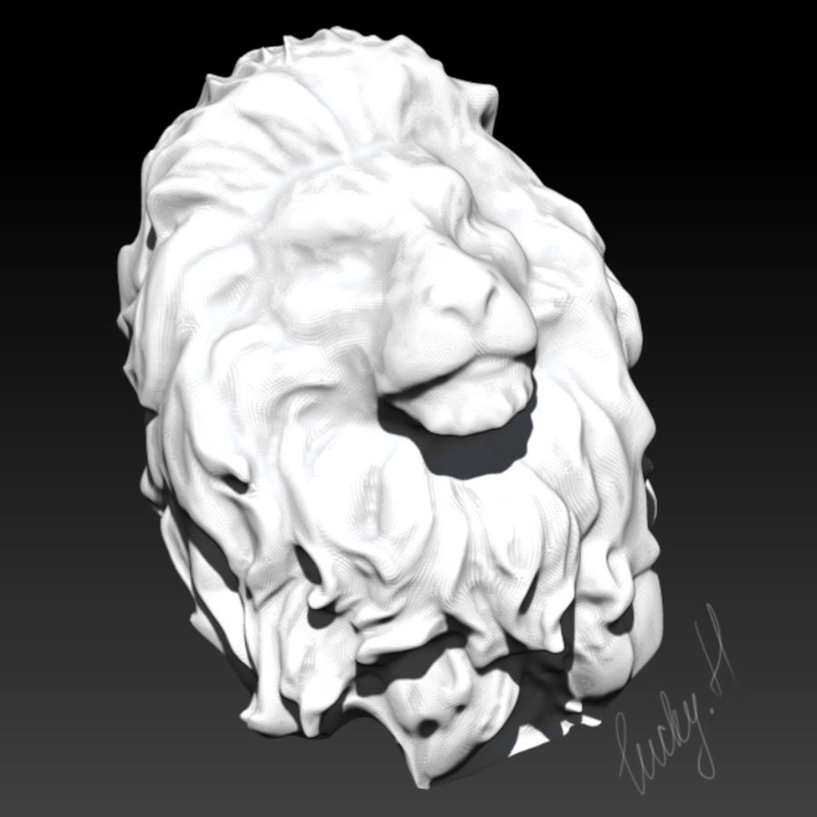 king Lion head bust royalty-free 3d model - Preview no. 2