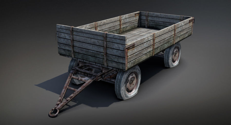 Russian Village Cart royalty-free 3d model - Preview no. 2