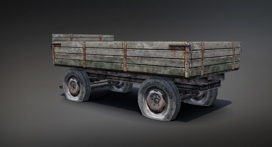 Russian Village Cart royalty-free 3d model - Preview no. 3