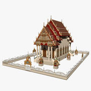 Chinese church - Low Poly 3d model