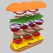 Düşük poli sandviç (oyun hazır) 3d model