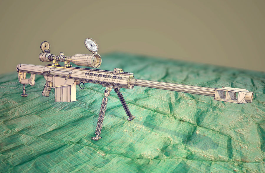 M82 Barret sniper rifle royalty-free 3d model - Preview no. 4