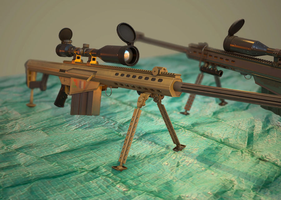 M82 Barret sniper rifle royalty-free 3d model - Preview no. 2
