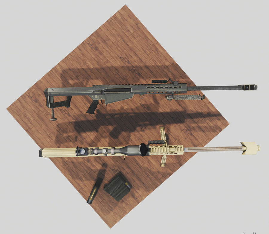 M82 Barret sniper rifle royalty-free 3d model - Preview no. 5