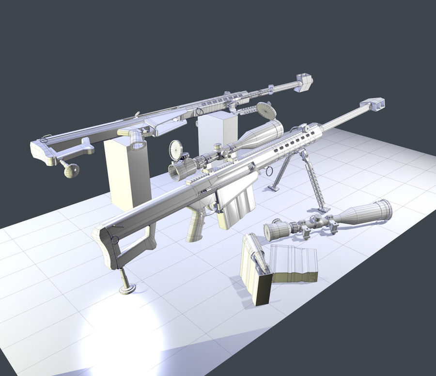 M82 Barret sniper rifle royalty-free 3d model - Preview no. 6
