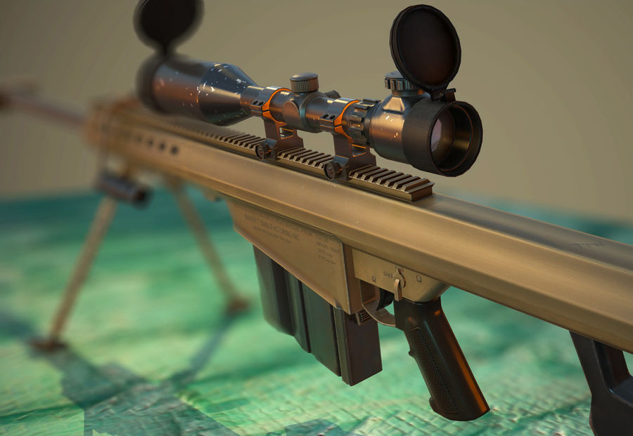 M82 Barret sniper rifle royalty-free 3d model - Preview no. 1