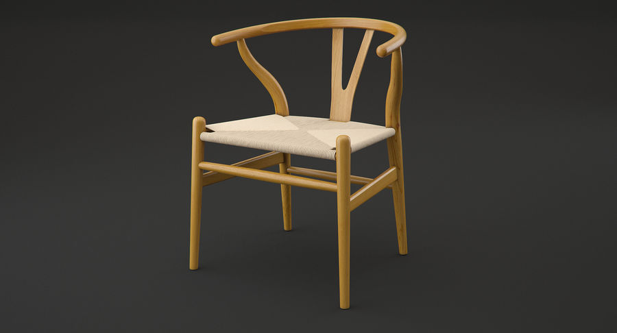 Wishbone chair royalty-free 3d model - Preview no. 3