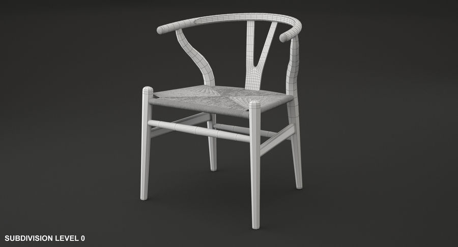 Wishbone chair royalty-free 3d model - Preview no. 9