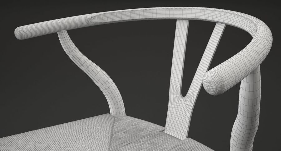 Wishbone chair royalty-free 3d model - Preview no. 12