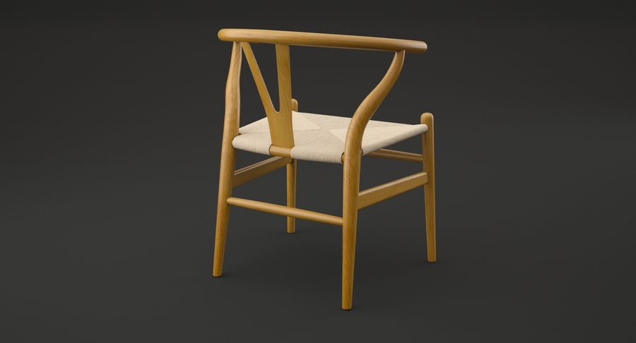 Wishbone chair royalty-free 3d model - Preview no. 4