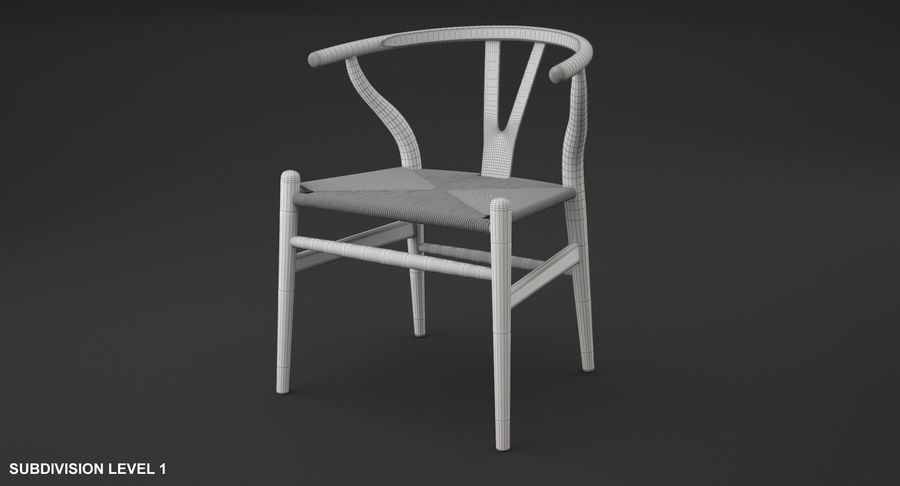 Wishbone chair royalty-free 3d model - Preview no. 10
