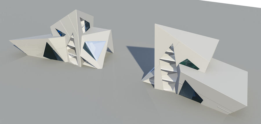Conceptual Glaciers Buildings Royalty Free 3d Model