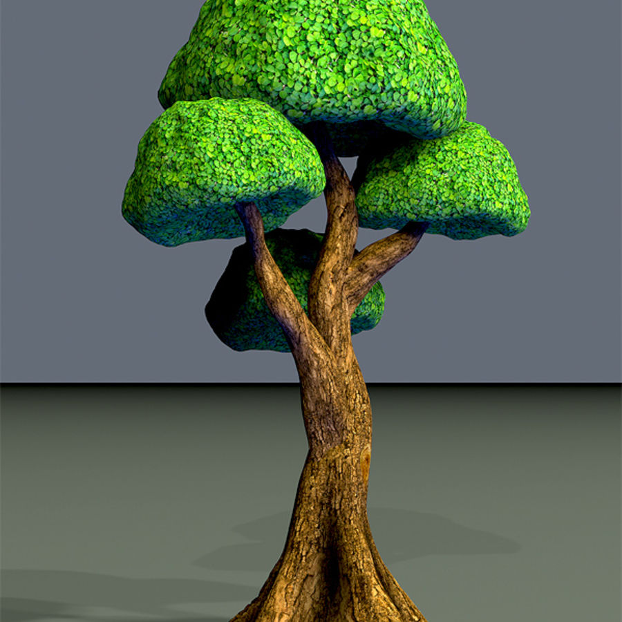 Tree Toon Ficus 3 mesh royalty-free 3d model - Preview no. 10