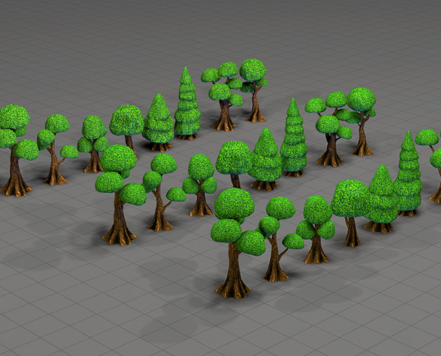 Tree Toon Ficus 3 mesh royalty-free 3d model - Preview no. 6