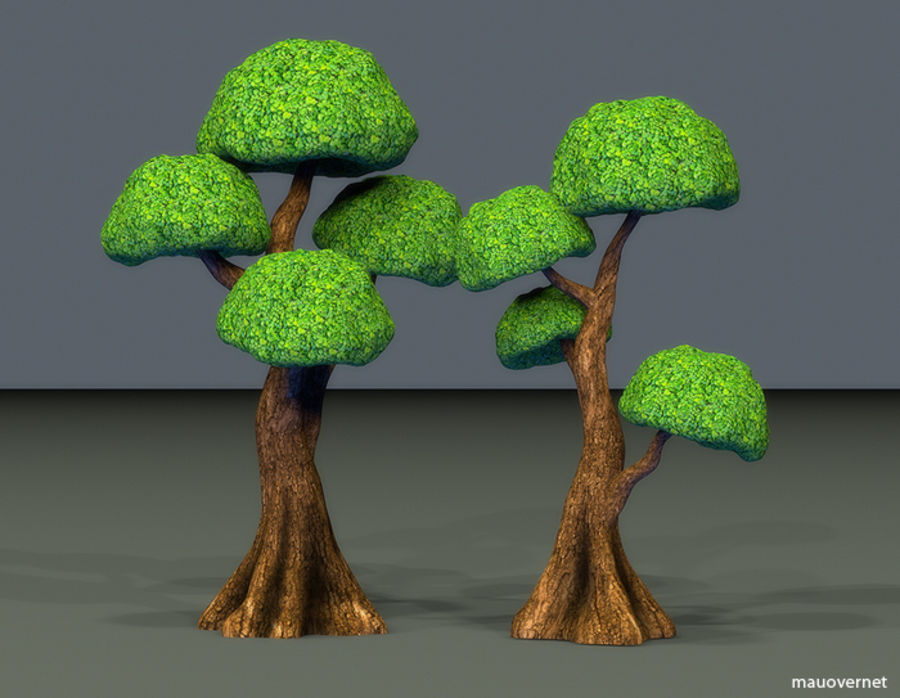 Tree Toon Ficus 3 mesh royalty-free 3d model - Preview no. 9