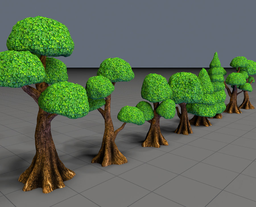 Tree Toon Ficus 3 mesh royalty-free 3d model - Preview no. 5