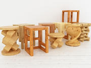 Wooden Stools collection 3d model