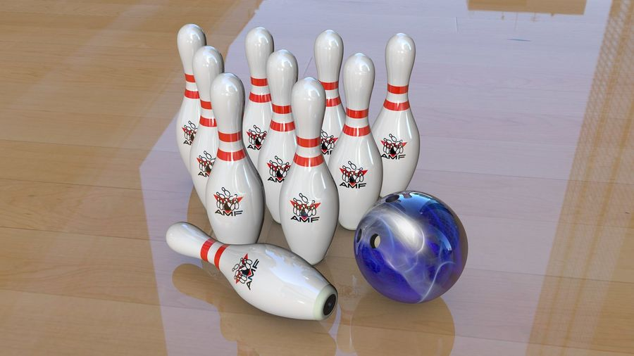 Bowling Pins & Ball royalty-free 3d model - Preview no. 4