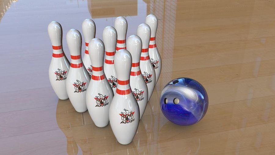 Bowling Pins & Ball royalty-free 3d model - Preview no. 1