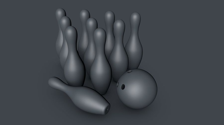 Bowling Pins & Ball royalty-free 3d model - Preview no. 5