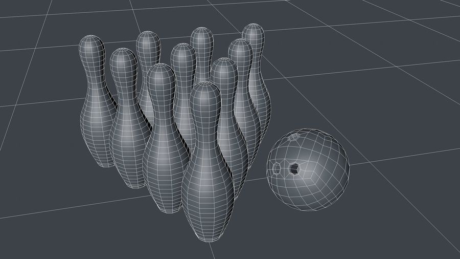 Bowling Pins & Ball royalty-free 3d model - Preview no. 3