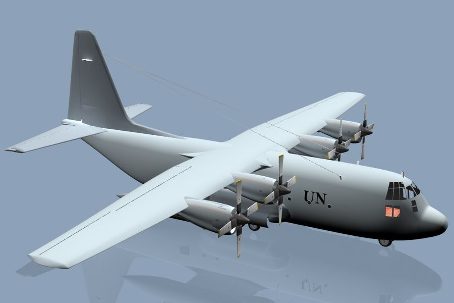 C130 Flugzeug royalty-free 3d model - Preview no. 4