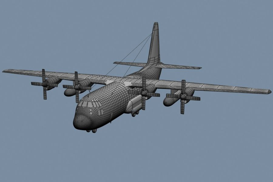 C130 Flugzeug royalty-free 3d model - Preview no. 6