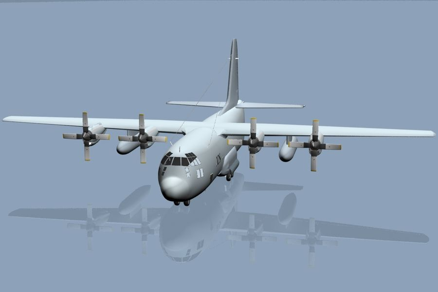 C130 Flugzeug royalty-free 3d model - Preview no. 1
