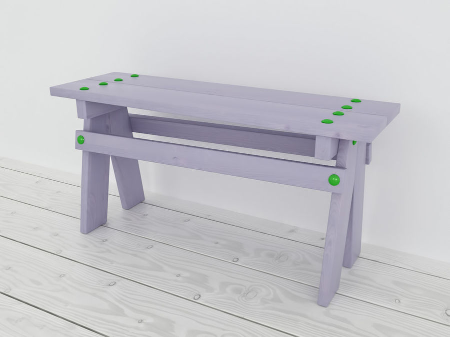 Wooden childrens furniture royalty-free 3d model - Preview no. 10