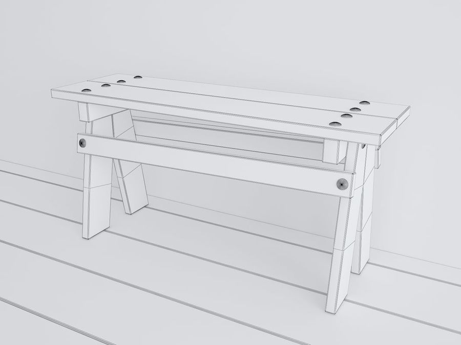 Wooden childrens furniture royalty-free 3d model - Preview no. 11