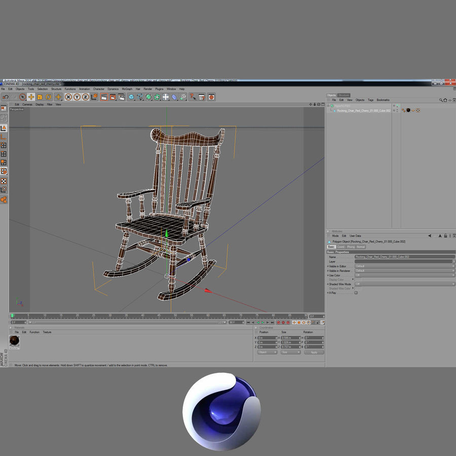 Rocking Chair Red Cherry royalty-free 3d model - Preview no. 9